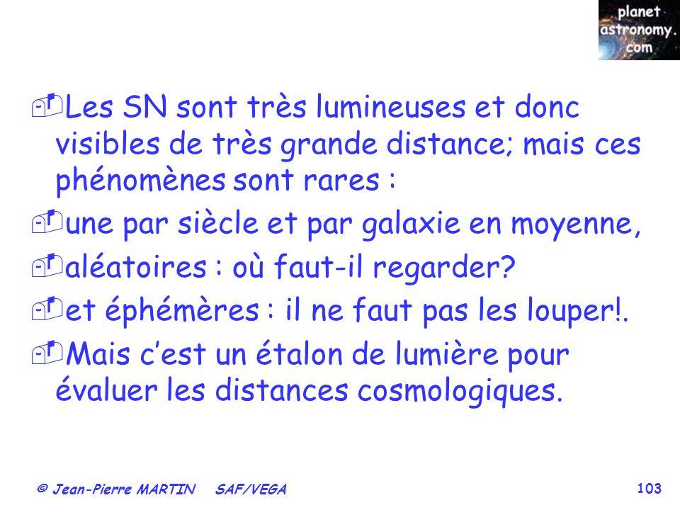 Les SN sont très lumineuses et donc visibles de très grande distance; mais ces phénomènes sont rares :