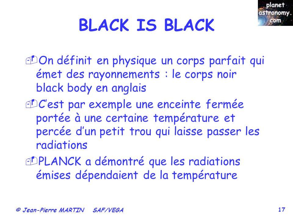 BLACK IS BLACK On définit en physique un corps parfait qui émet des rayonnements : le corps noir black body en anglais.