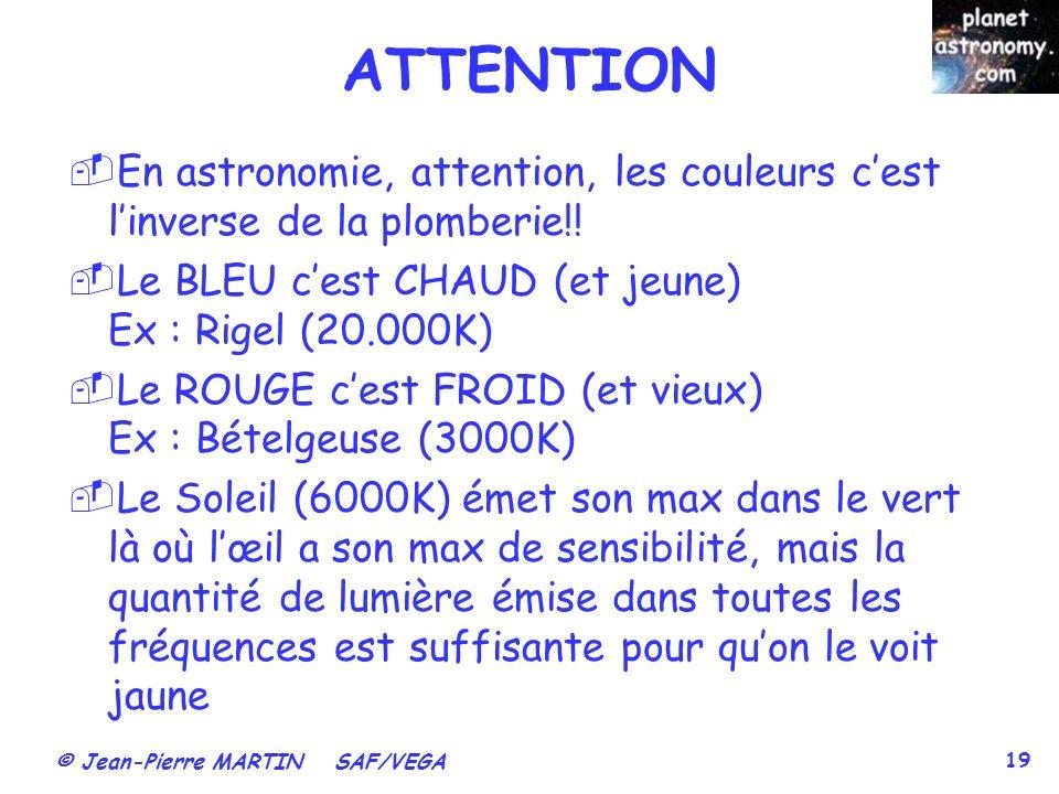 ATTENTION En astronomie, attention, les couleurs c'est l'inverse de la plomberie!! Le BLEU c'est CHAUD (et jeune) Ex : Rigel (20.000K)