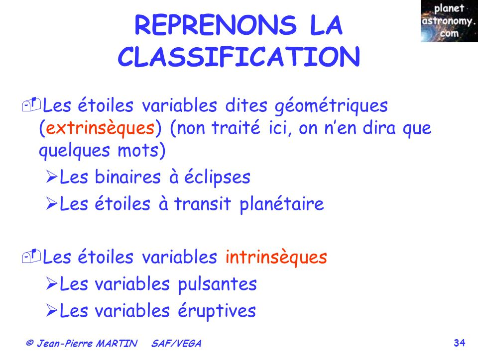 REPRENONS LA CLASSIFICATION