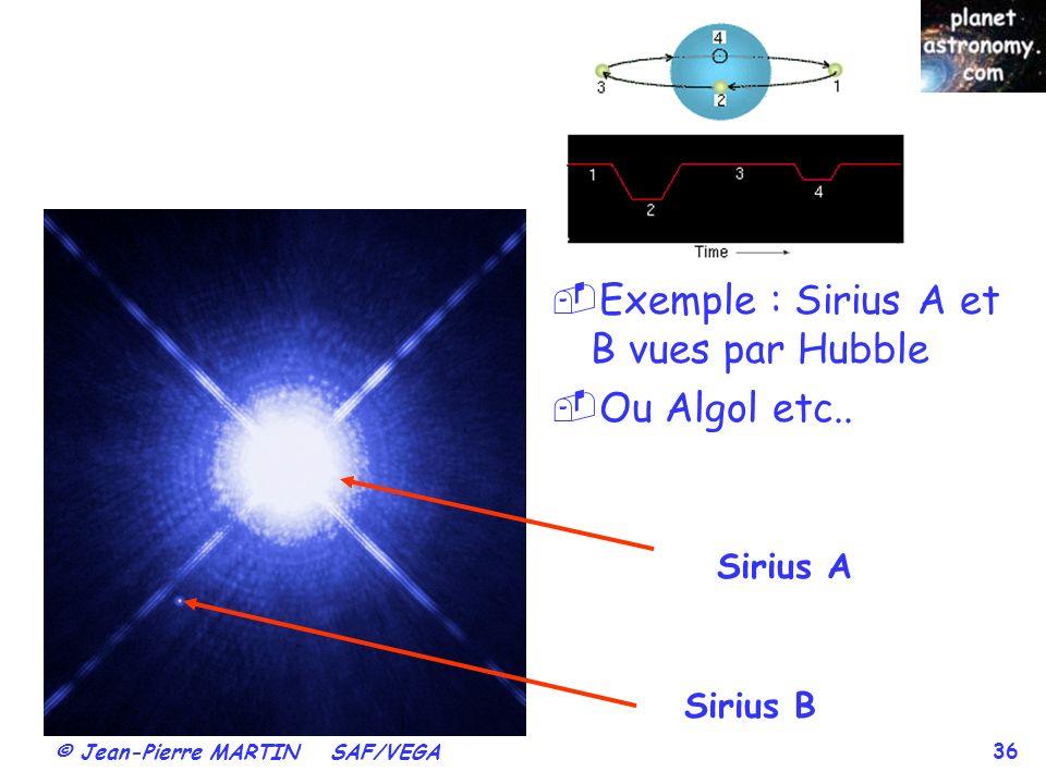 Exemple : Sirius A et B vues par Hubble Ou Algol etc..