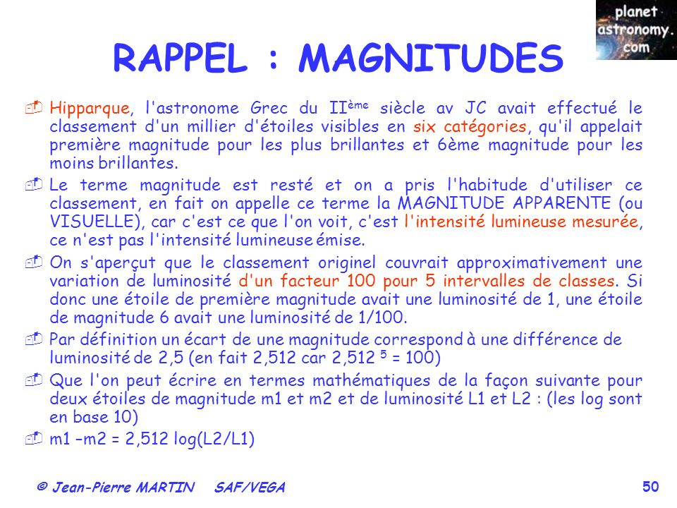 RAPPEL : MAGNITUDES