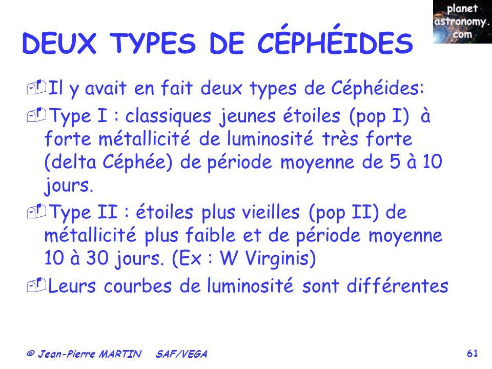 DEUX TYPES DE CÉPHÉIDES