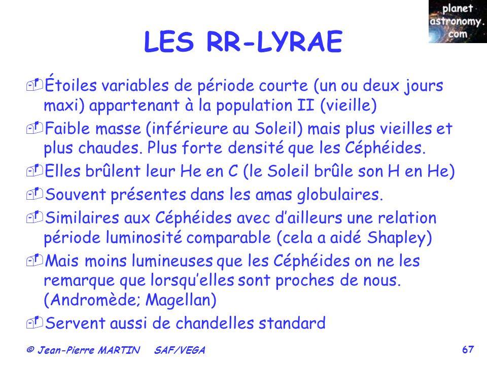 LES RR-LYRAE Étoiles variables de période courte (un ou deux jours maxi) appartenant à la population II (vieille)