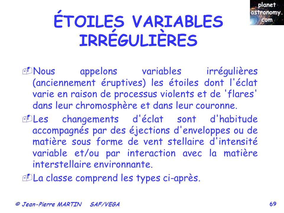 ÉTOILES VARIABLES IRRÉGULIÈRES