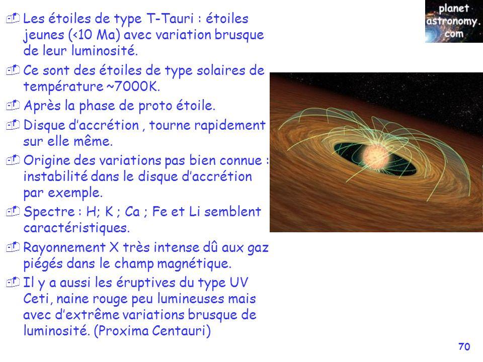 Les étoiles de type T-Tauri : étoiles jeunes (<10 Ma) avec variation brusque de leur luminosité.