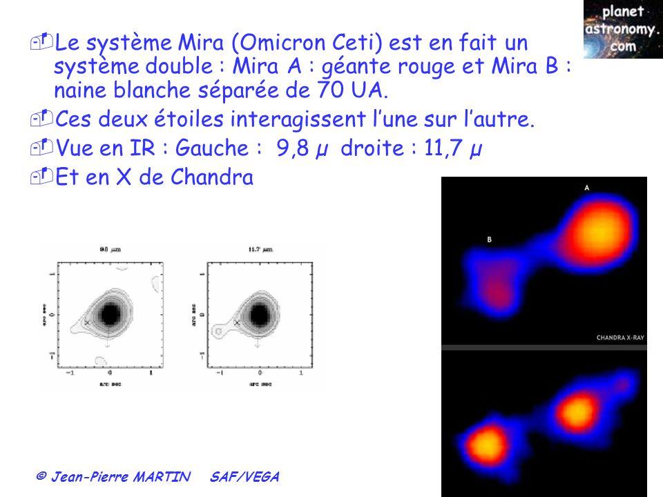 Le système Mira (Omicron Ceti) est en fait un système double : Mira A : géante rouge et Mira B : naine blanche séparée de 70 UA.