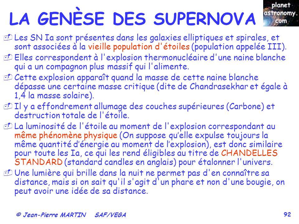 LA GENÈSE DES SUPERNOVA