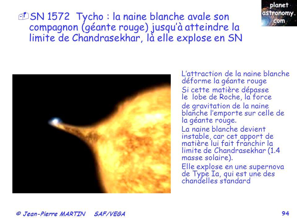 SN 1572 Tycho : la naine blanche avale son compagnon (géante rouge) jusqu'à atteindre la limite de Chandrasekhar, là elle explose en SN