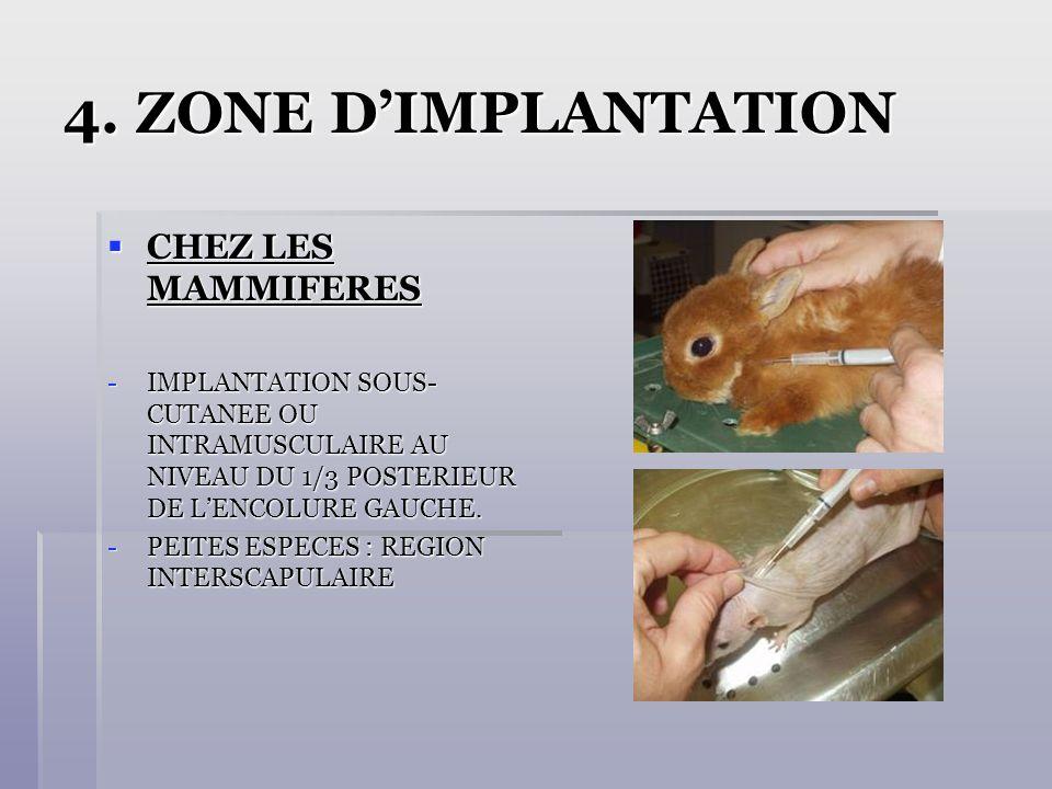 4. ZONE D'IMPLANTATION CHEZ LES MAMMIFERES