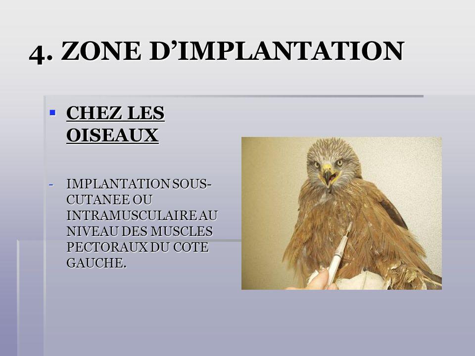 4. ZONE D'IMPLANTATION CHEZ LES OISEAUX