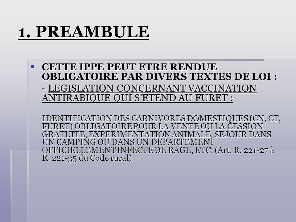 1. PREAMBULE CETTE IPPE PEUT ETRE RENDUE OBLIGATOIRE PAR DIVERS TEXTES DE LOI :