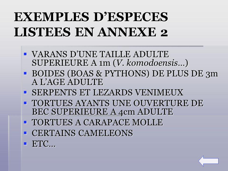 EXEMPLES D'ESPECES LISTEES EN ANNEXE 2