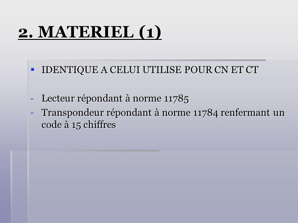 2. MATERIEL (1) IDENTIQUE A CELUI UTILISE POUR CN ET CT
