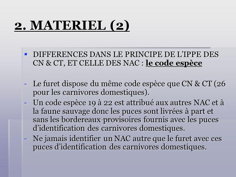 2. MATERIEL (2) DIFFERENCES DANS LE PRINCIPE DE L'IPPE DES CN & CT, ET CELLE DES NAC : le code espèce.