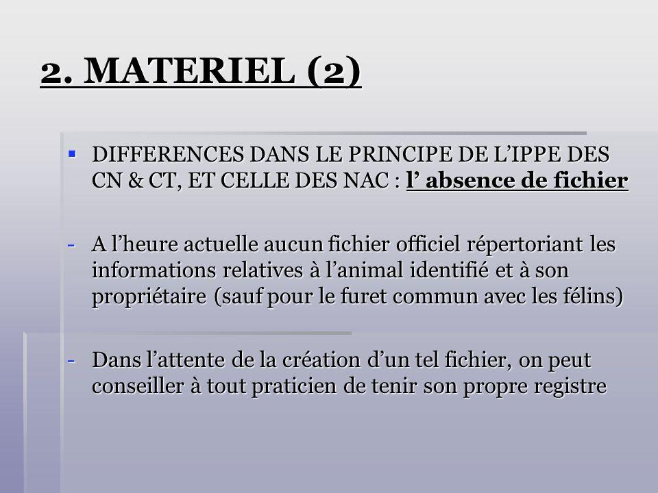 2. MATERIEL (2) DIFFERENCES DANS LE PRINCIPE DE L'IPPE DES CN & CT, ET CELLE DES NAC : l' absence de fichier.