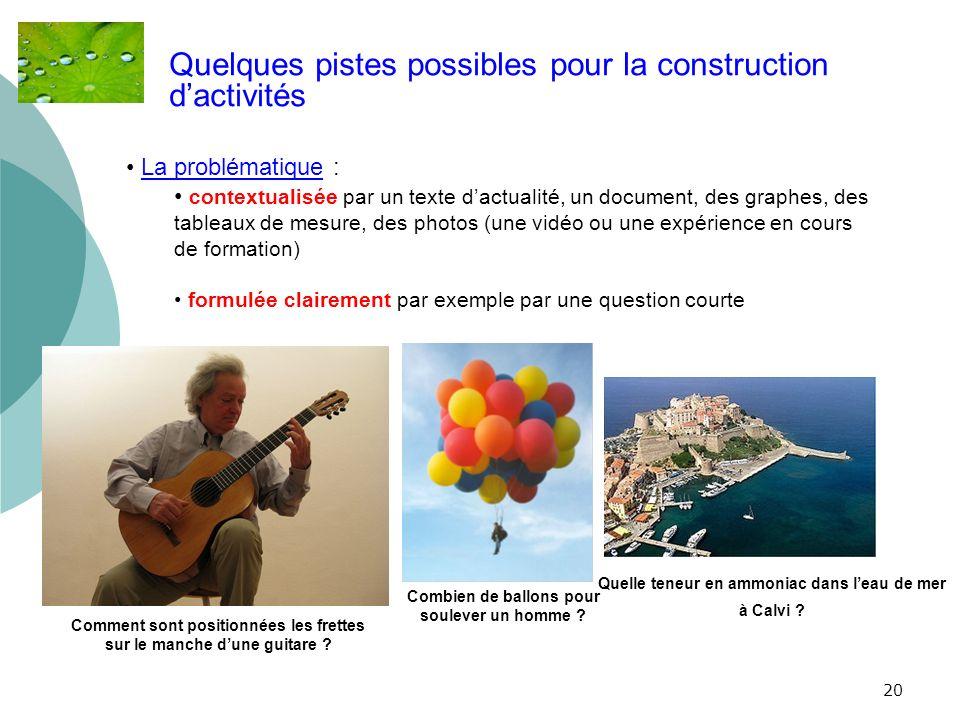Quelques pistes possibles pour la construction d'activités