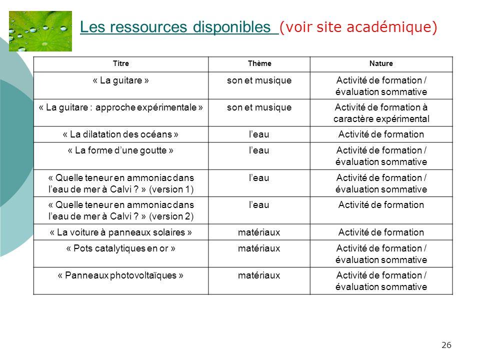 Les ressources disponibles (voir site académique)