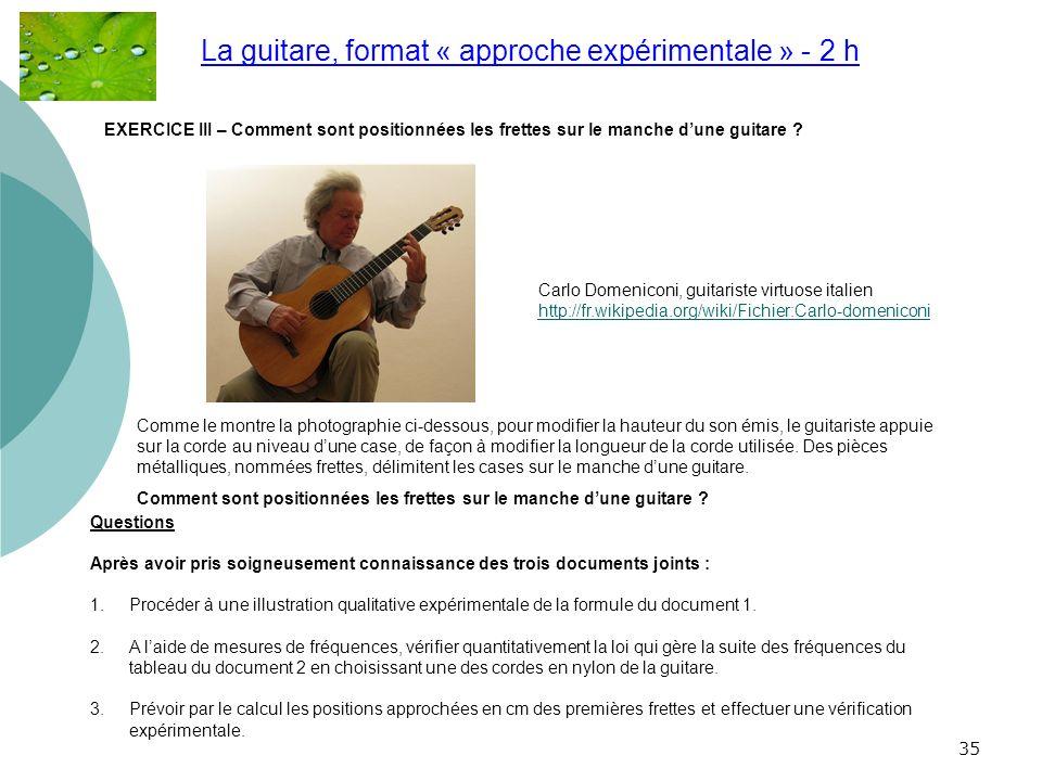 La guitare, format « approche expérimentale » - 2 h