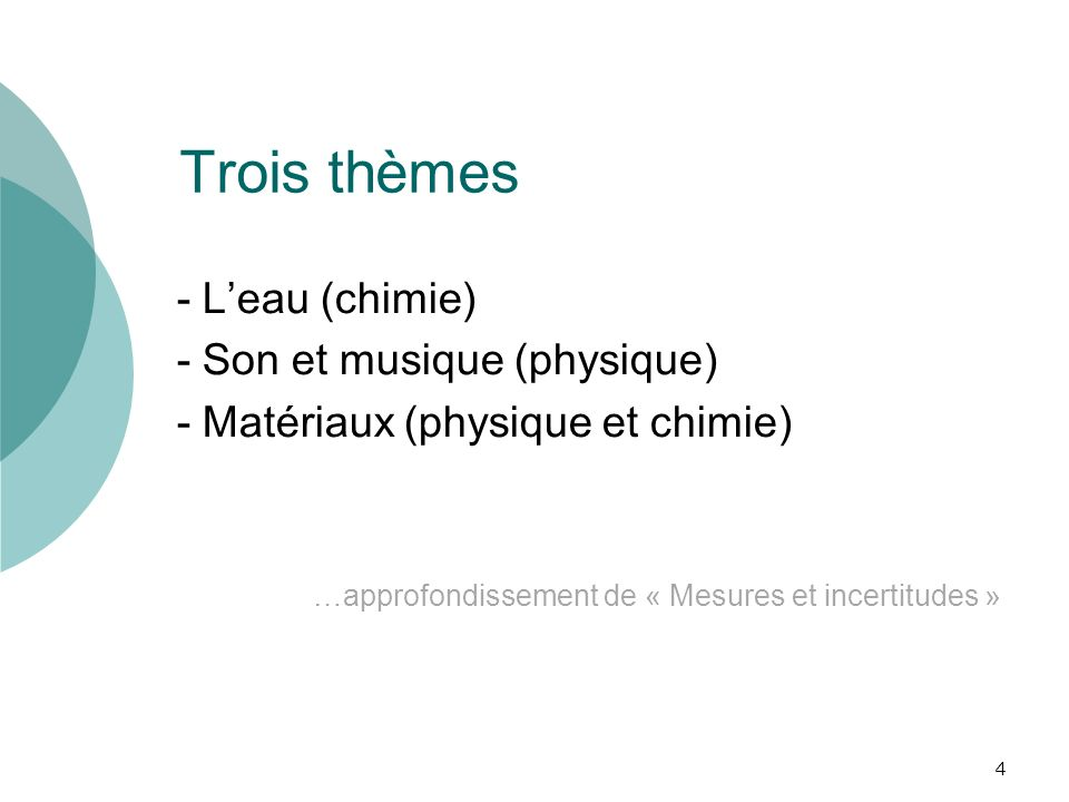 Trois thèmes - L'eau (chimie) - Son et musique (physique)