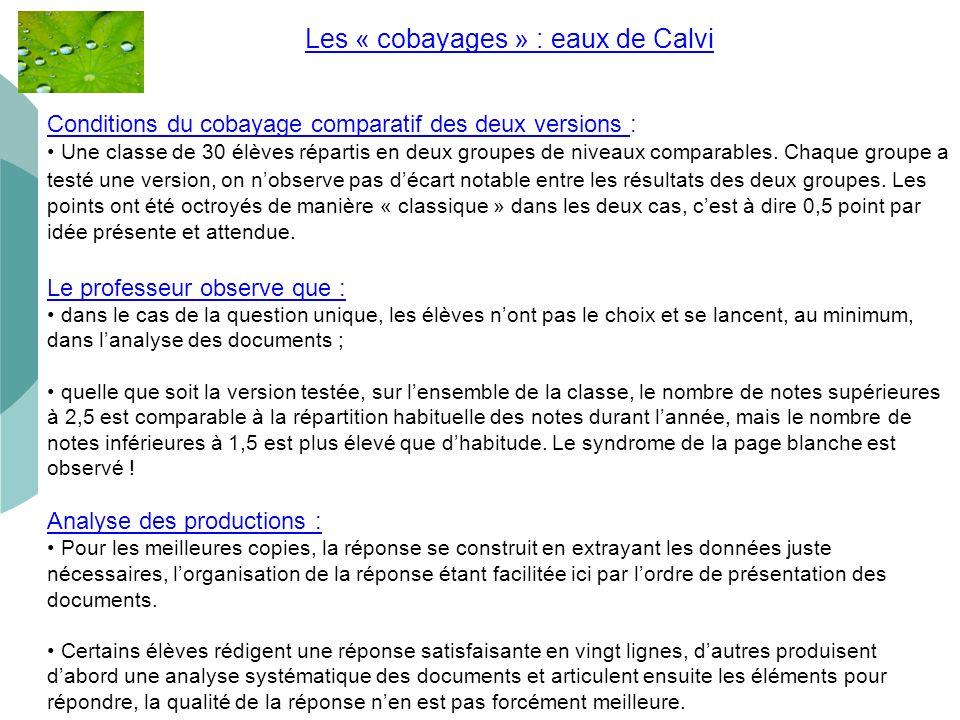 Les « cobayages » : eaux de Calvi