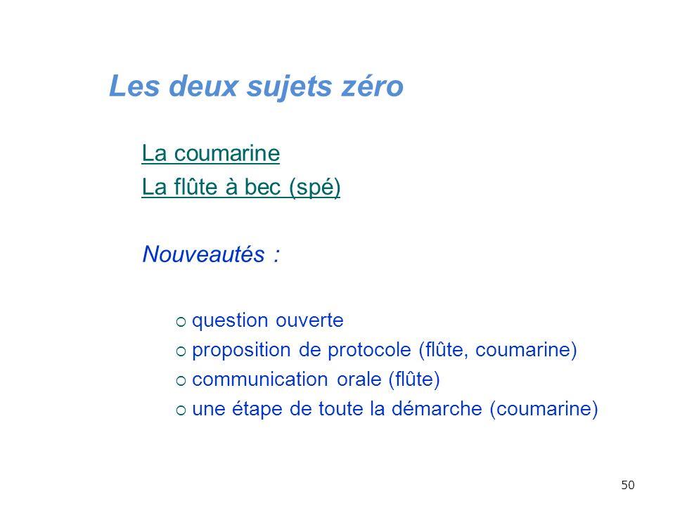 Les deux sujets zéro La coumarine La flûte à bec (spé) Nouveautés :