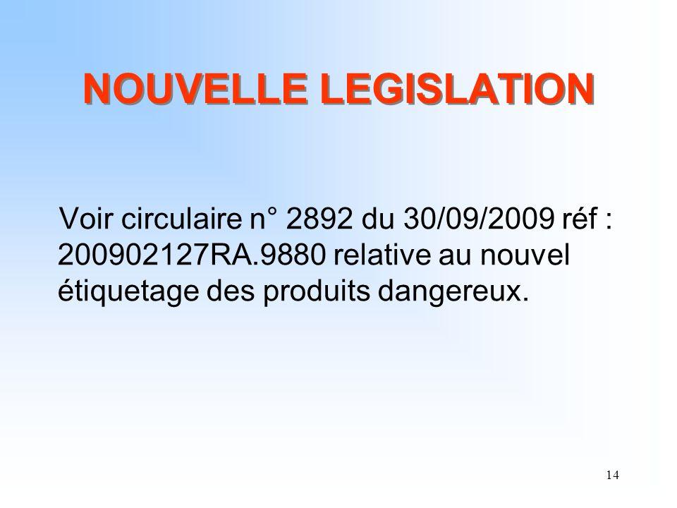 NOUVELLE LEGISLATION Voir circulaire n° 2892 du 30/09/2009 réf : 200902127RA.9880 relative au nouvel étiquetage des produits dangereux.
