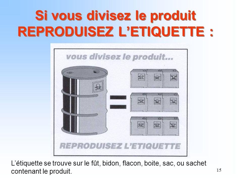 Si vous divisez le produit REPRODUISEZ L'ETIQUETTE :