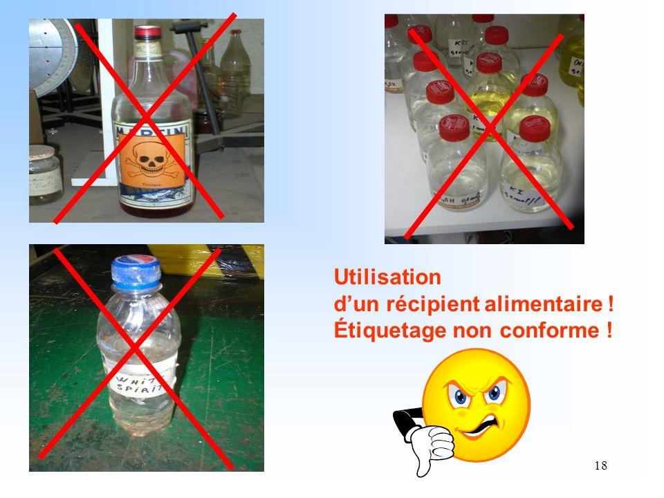 Utilisation d'un récipient alimentaire ! Étiquetage non conforme !