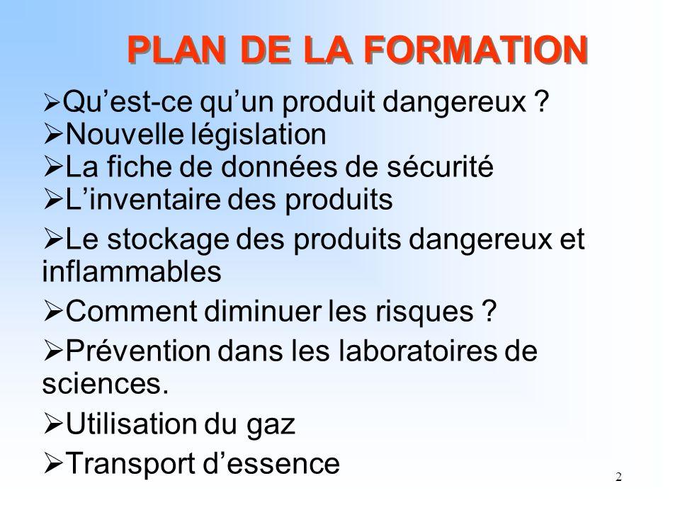 PLAN DE LA FORMATION Nouvelle législation