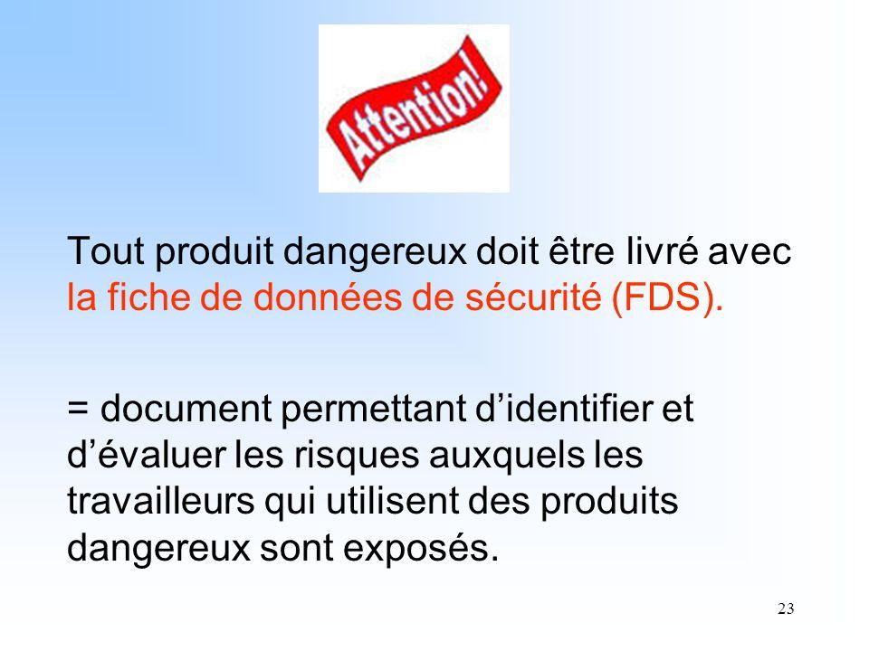 Tout produit dangereux doit être livré avec la fiche de données de sécurité (FDS).
