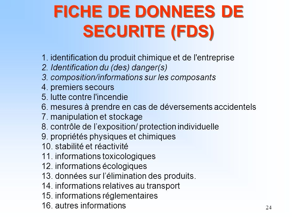FICHE DE DONNEES DE SECURITE (FDS)