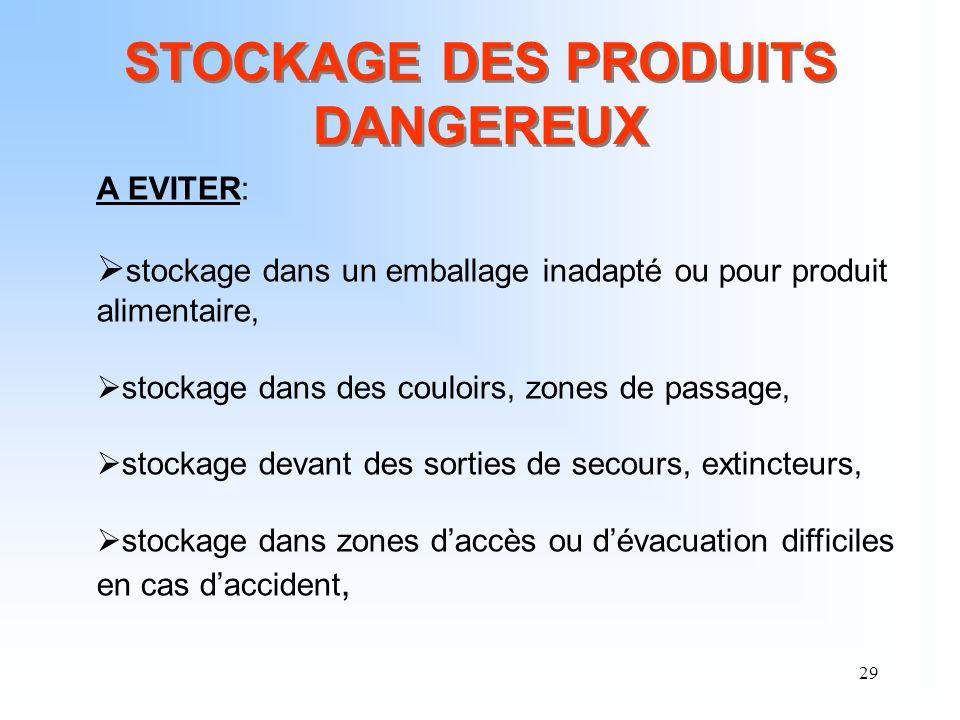 STOCKAGE DES PRODUITS DANGEREUX