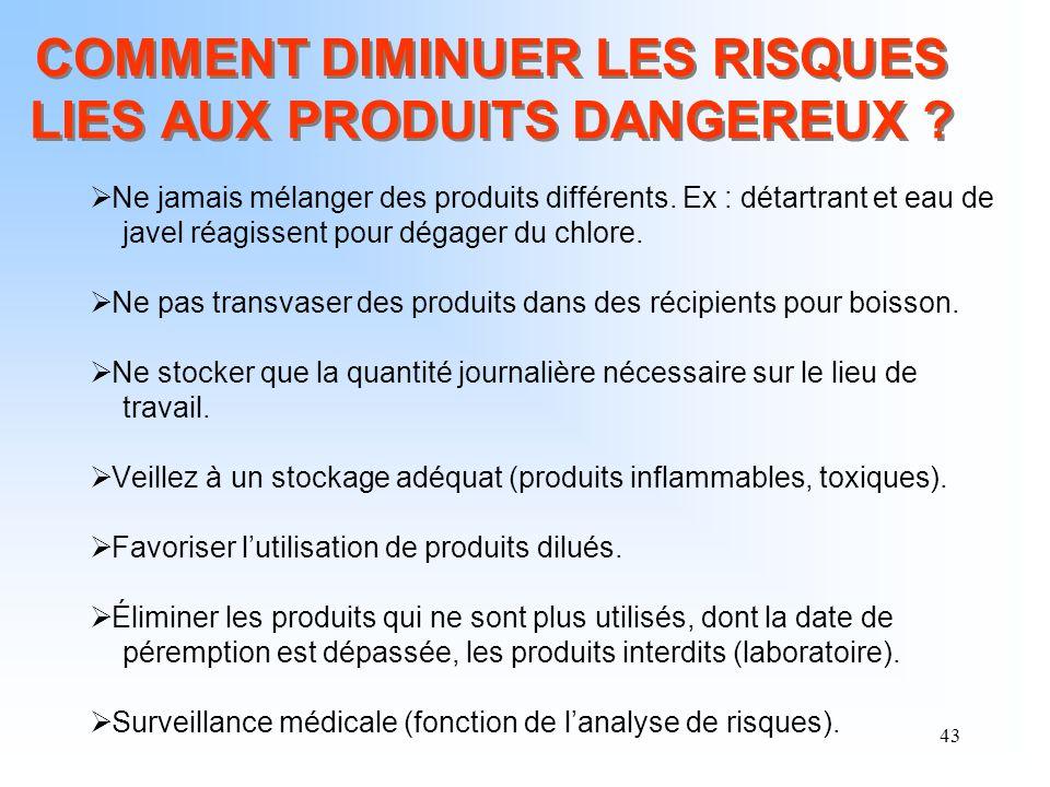 COMMENT DIMINUER LES RISQUES LIES AUX PRODUITS DANGEREUX