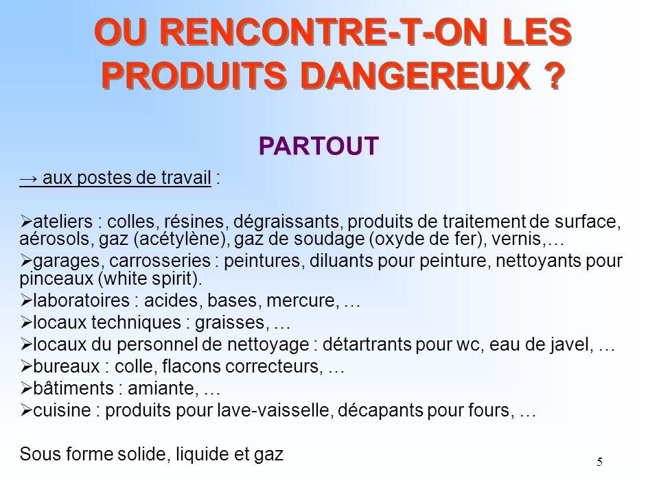 OU RENCONTRE-T-ON LES PRODUITS DANGEREUX