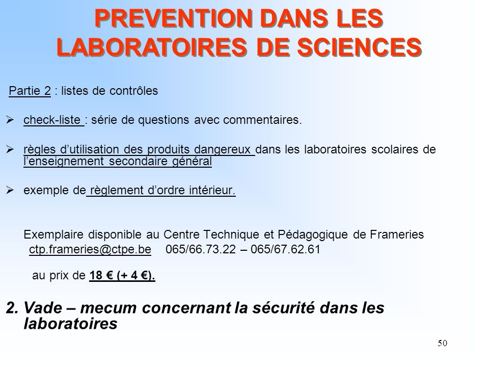 PREVENTION DANS LES LABORATOIRES DE SCIENCES
