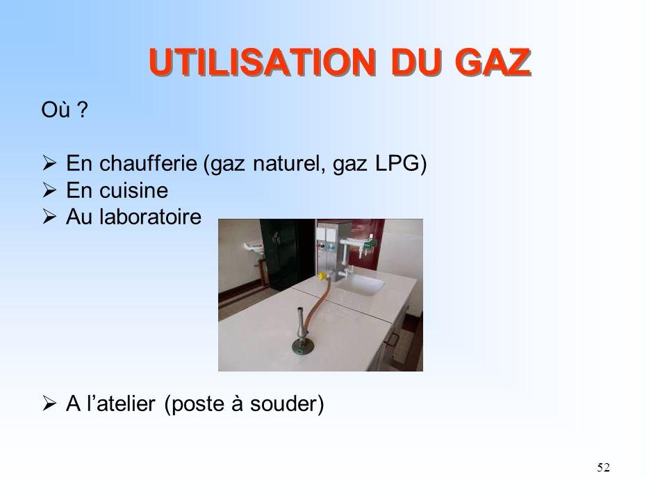 UTILISATION DU GAZ Où En chaufferie (gaz naturel, gaz LPG)