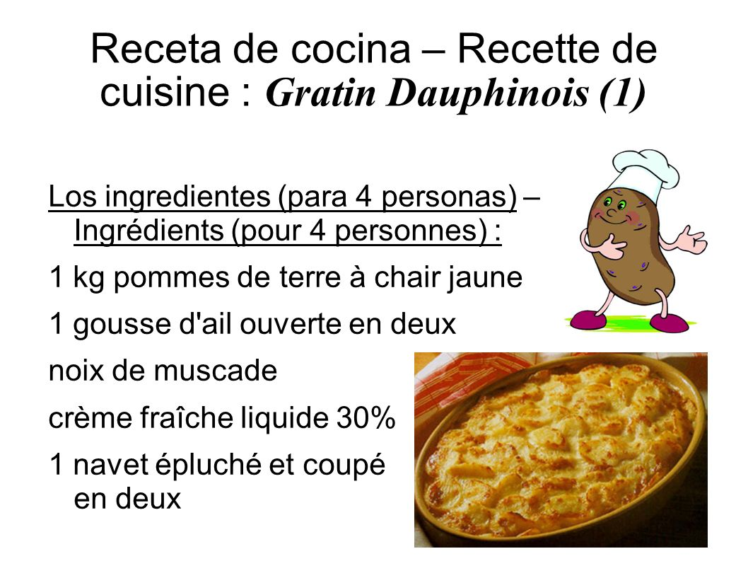 Receta de cocina – Recette de cuisine : Gratin Dauphinois (1)