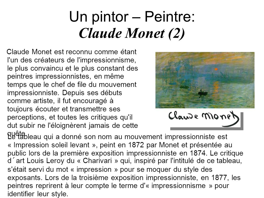Un pintor – Peintre: Claude Monet (2)