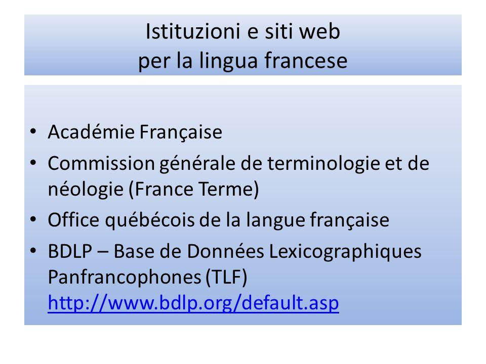 Istituzioni e siti web per la lingua francese