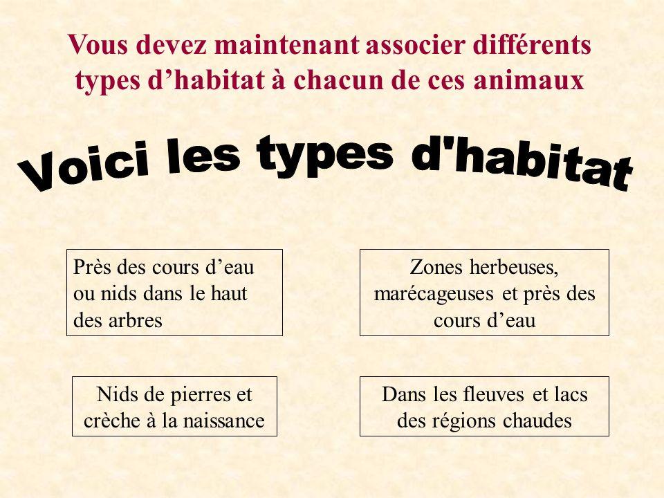 Vous devez maintenant associer différents types d'habitat à chacun de ces animaux