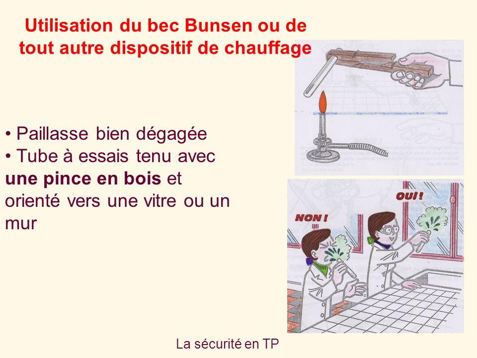 Utilisation du bec Bunsen ou de tout autre dispositif de chauffage