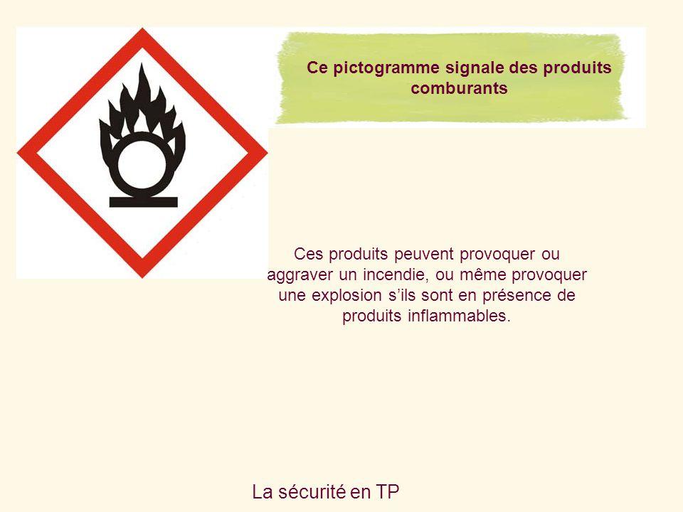 Ce pictogramme signale des produits comburants