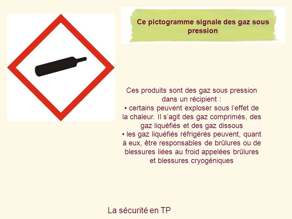 Ce pictogramme signale des gaz sous pression