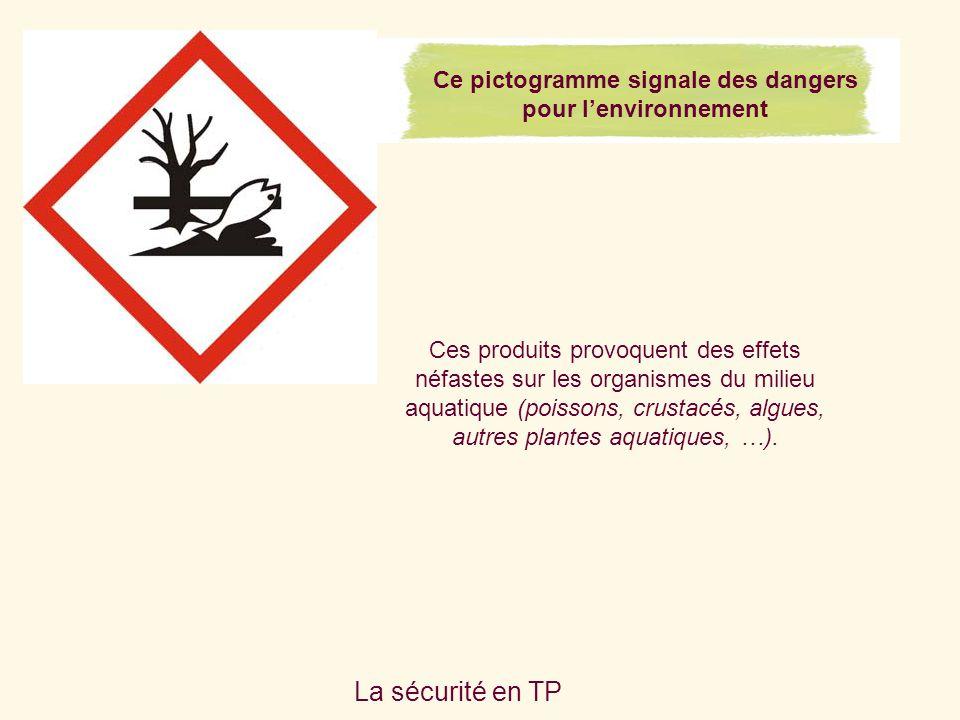 Ce pictogramme signale des dangers pour l'environnement