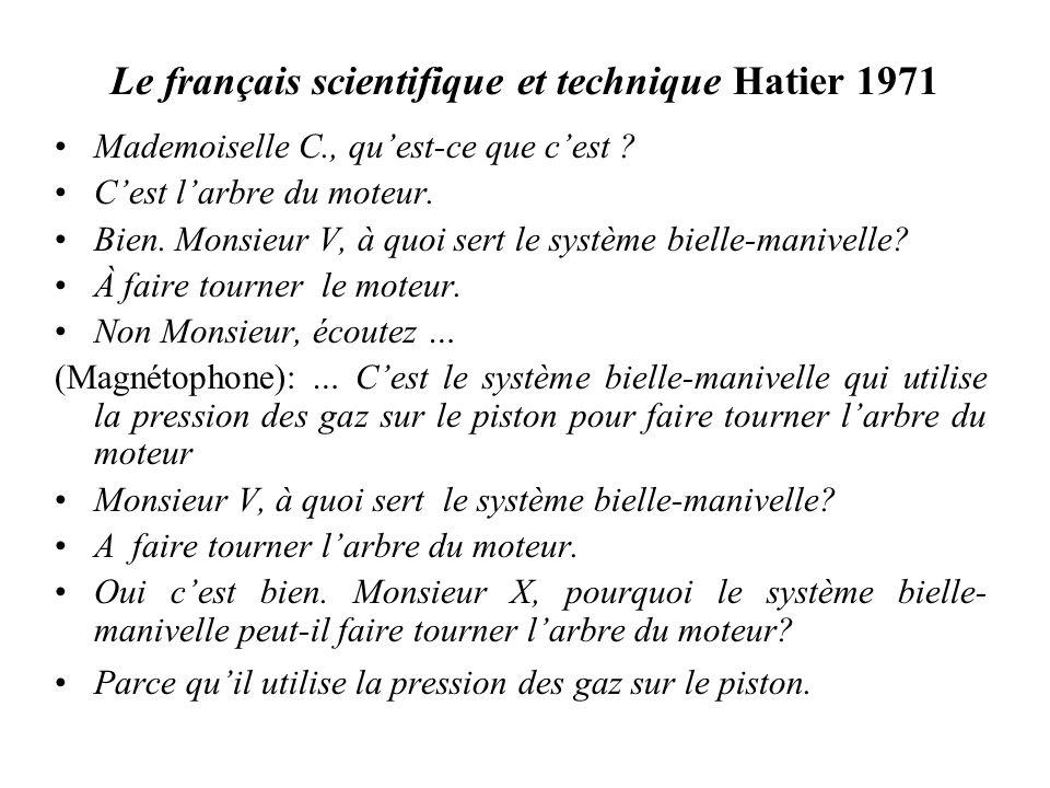 Le français scientifique et technique Hatier 1971