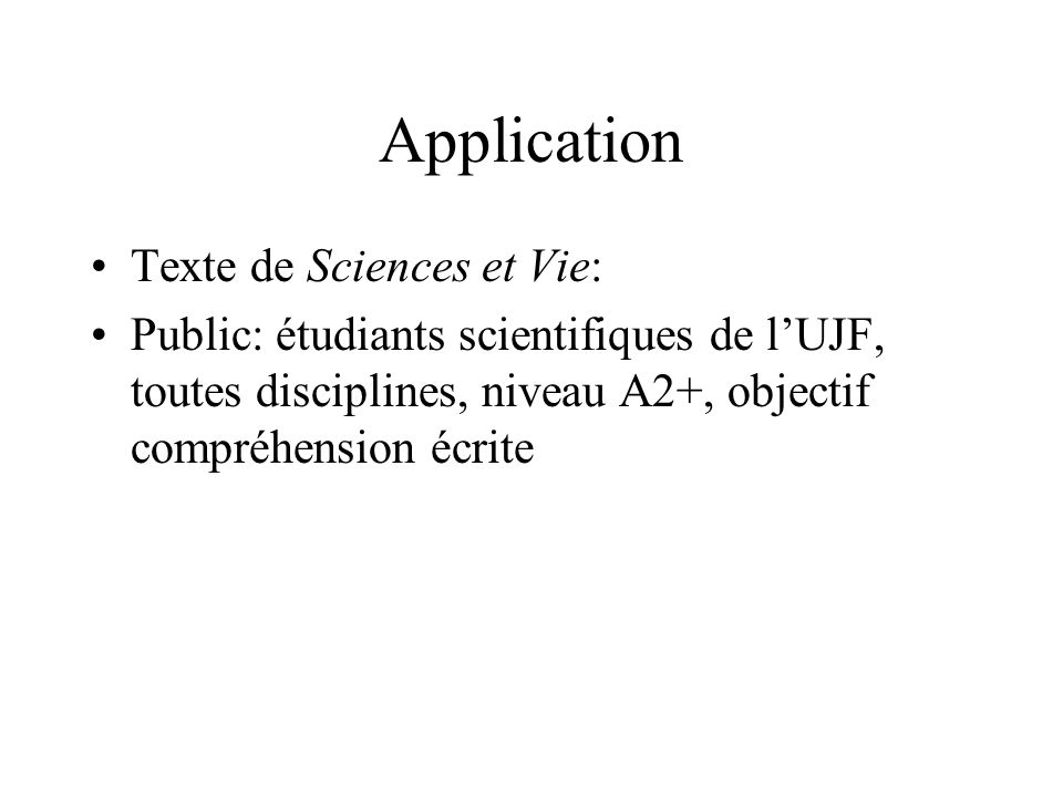 Application Texte de Sciences et Vie: