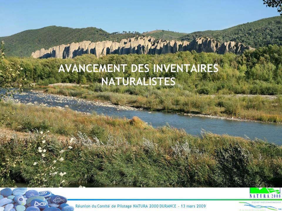 AVANCEMENT DES INVENTAIRES NATURALISTES