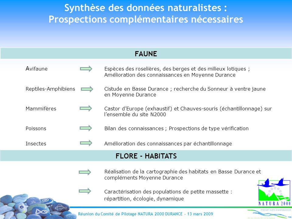 Synthèse des données naturalistes : Prospections complémentaires nécessaires