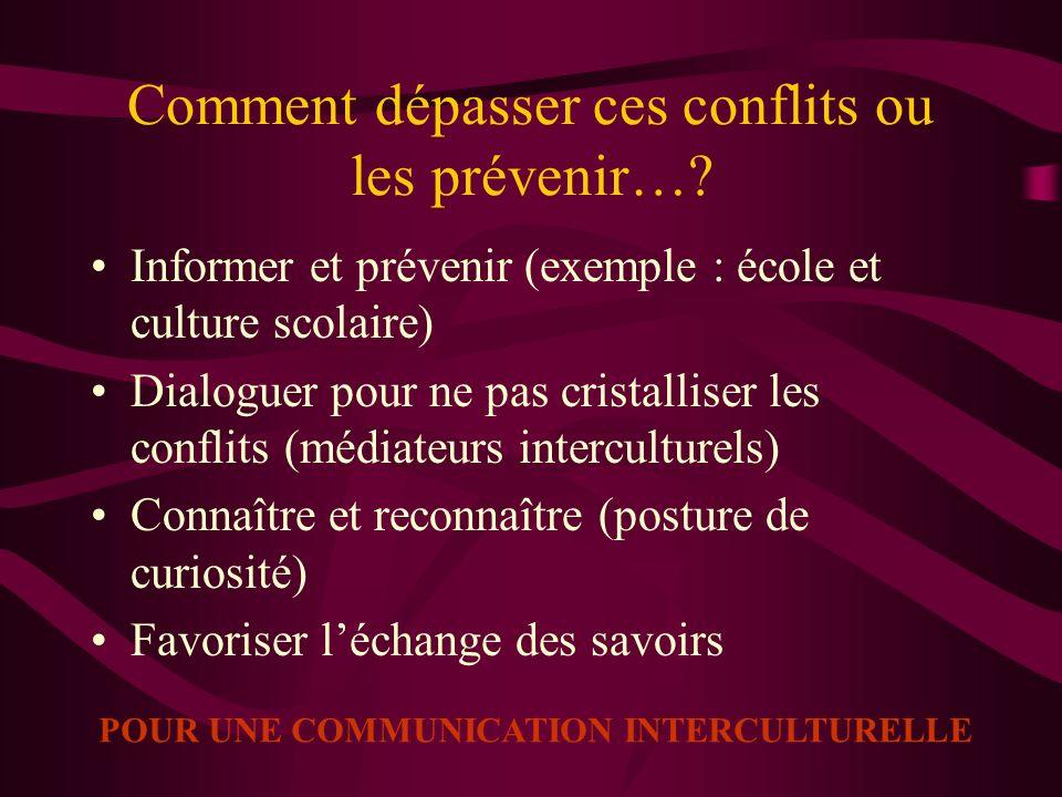 Comment dépasser ces conflits ou les prévenir…